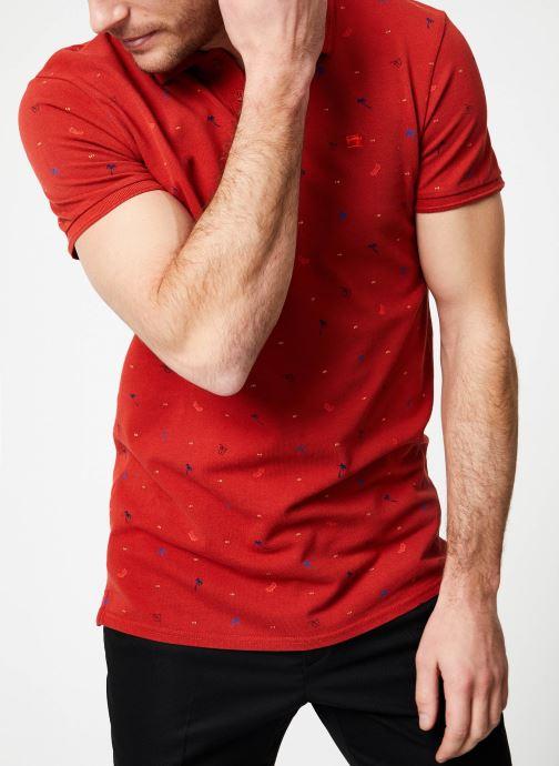 Vêtements Scotch & Soda Classic garment-dyed pique polo with all-over print Rouge vue détail/paire