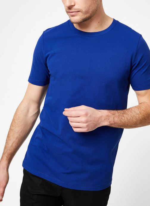 Vêtements Scotch & Soda Crewneck tee in lightweight pique quality Bleu vue détail/paire
