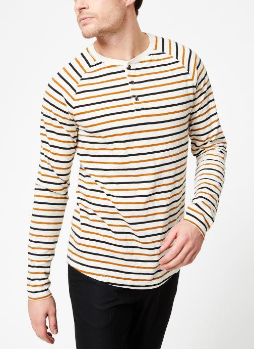 Vêtements Scotch & Soda Longsleeve grandad tee in slub jersey quality Beige vue droite
