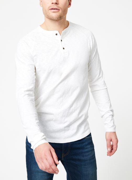Abbigliamento Scotch & Soda Longsleeve grandad tee in slub jersey quality Bianco immagine destra