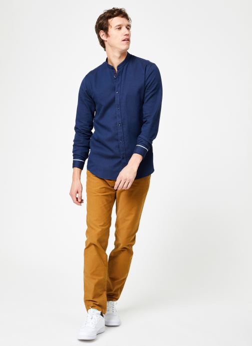 Vêtements Scotch & Soda REGULAR FIT - Chic collarless shirt in structure Bleu vue bas / vue portée sac