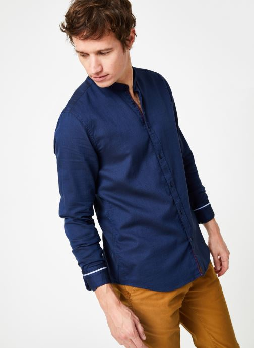 Vêtements Scotch & Soda REGULAR FIT - Chic collarless shirt in structure Bleu vue droite