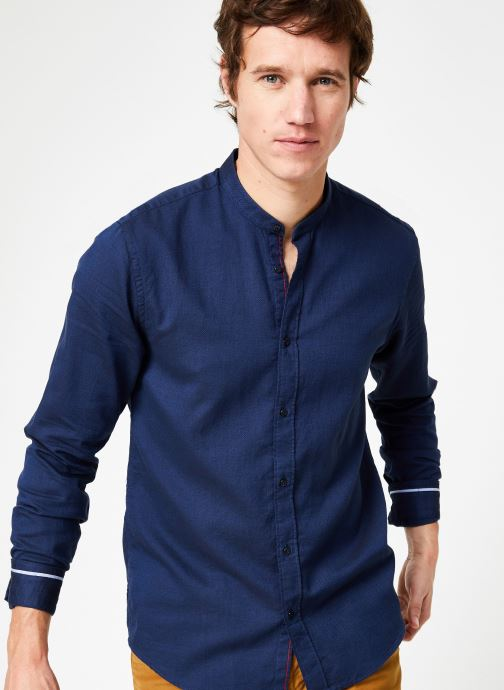 Vêtements Scotch & Soda REGULAR FIT - Chic collarless shirt in structure Bleu vue détail/paire
