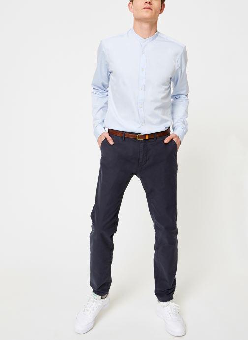 Vêtements Scotch & Soda REGULAR FIT - Chic collarless shirt in structure Bleu vue bas / vue portée sac