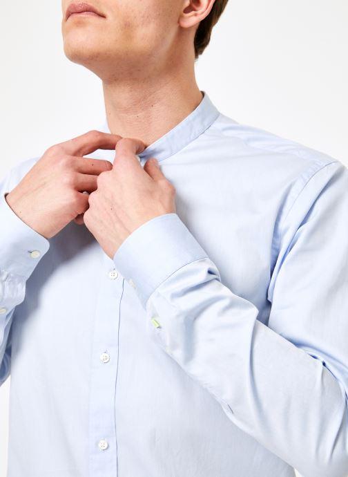 Vêtements Scotch & Soda REGULAR FIT - Chic collarless shirt in structure Bleu vue face
