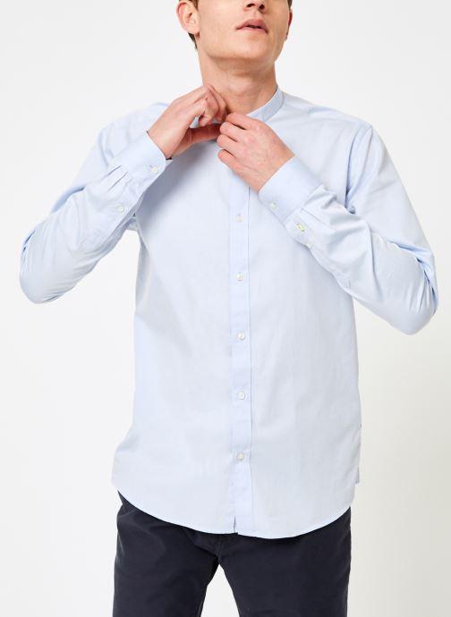Vêtements Scotch & Soda REGULAR FIT - Chic collarless shirt in structure Bleu vue droite