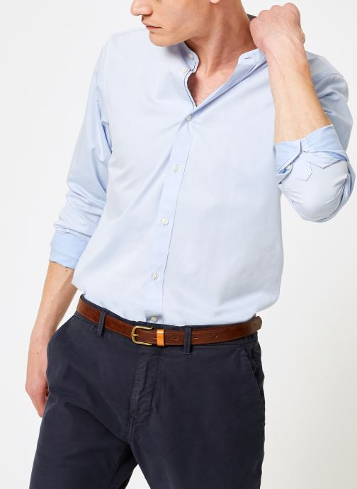 Vêtements Scotch & Soda REGULAR FIT - Chic collarless shirt in structure Bleu vue détail/paire