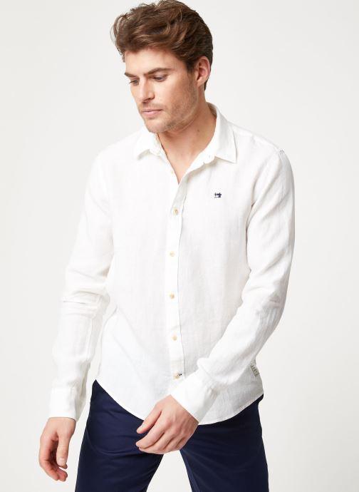 Vêtements Scotch & Soda REGULAR FIT - Garment dyed linen shirt Blanc vue droite