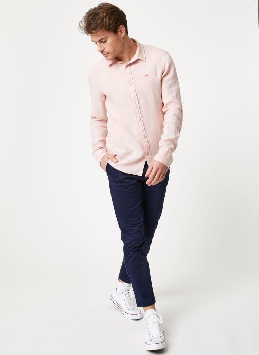 Vêtements Scotch & Soda REGULAR FIT - Garment dyed linen shirt Rose vue bas / vue portée sac