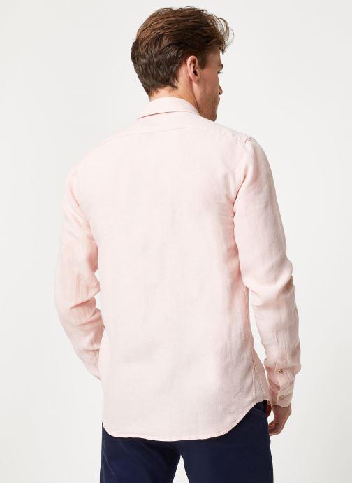 Vêtements Scotch & Soda REGULAR FIT - Garment dyed linen shirt Rose vue portées chaussures