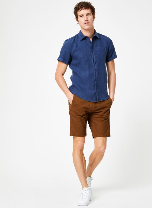 Vêtements Scotch & Soda REGULAR FIT- Garment-dyed linen shortsleeve shirt Bleu vue bas / vue portée sac