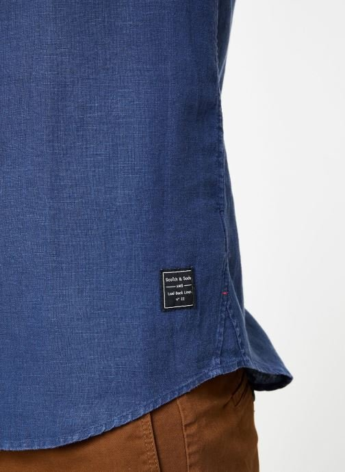 Vêtements Scotch & Soda REGULAR FIT- Garment-dyed linen shortsleeve shirt Bleu vue face