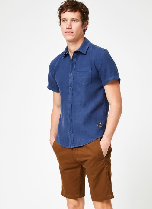 Vêtements Scotch & Soda REGULAR FIT- Garment-dyed linen shortsleeve shirt Bleu vue droite