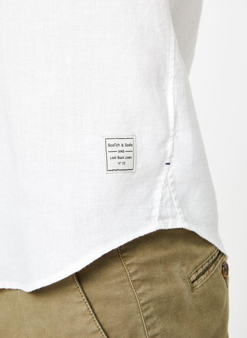 Vêtements Scotch & Soda REGULAR FIT- Garment-dyed linen shortsleeve shirt Blanc vue face