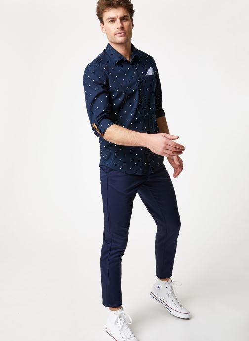 Vêtements Scotch & Soda REGULAR FIT- Shirt with sleeve collectors and fixed pochet Bleu vue bas / vue portée sac