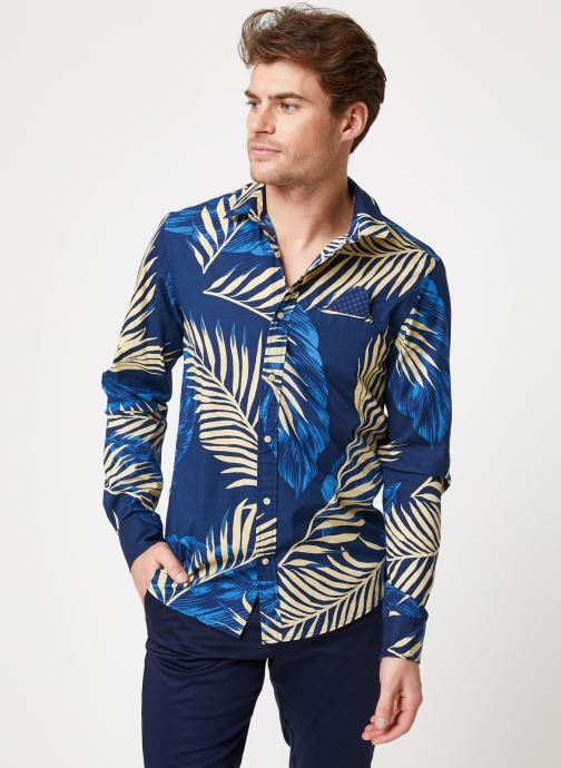 Vêtements Scotch & Soda REGULAR FIT- Shirt with sleeve collectors and fixed pochet Bleu vue droite