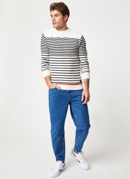 Vêtements Scotch & Soda Structured stripe pull Blanc vue bas / vue portée sac