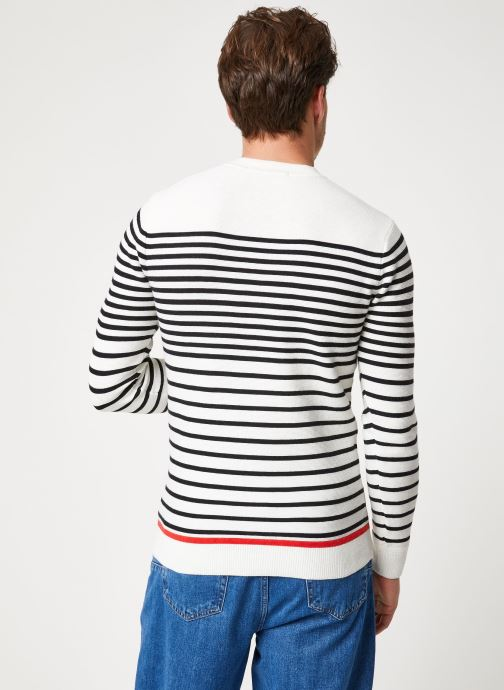 Vêtements Scotch & Soda Structured stripe pull Blanc vue portées chaussures