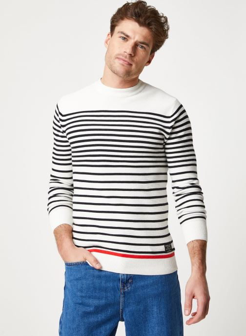 Vêtements Scotch & Soda Structured stripe pull Blanc vue droite