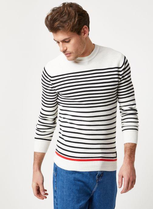 Vêtements Scotch & Soda Structured stripe pull Blanc vue détail/paire