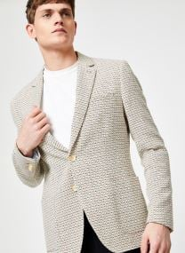 Summer blazer in yarn-dyed structured quality