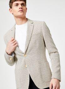Summer blazer in yarn-dyed structured quality
