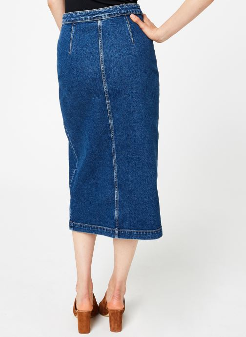 Vêtements Free People JASMINE BUTTONED MAXI Bleu vue portées chaussures
