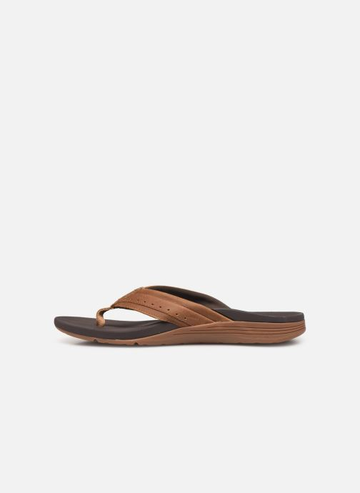 Infradito Reef Leather Ortho-Spring Marrone immagine frontale