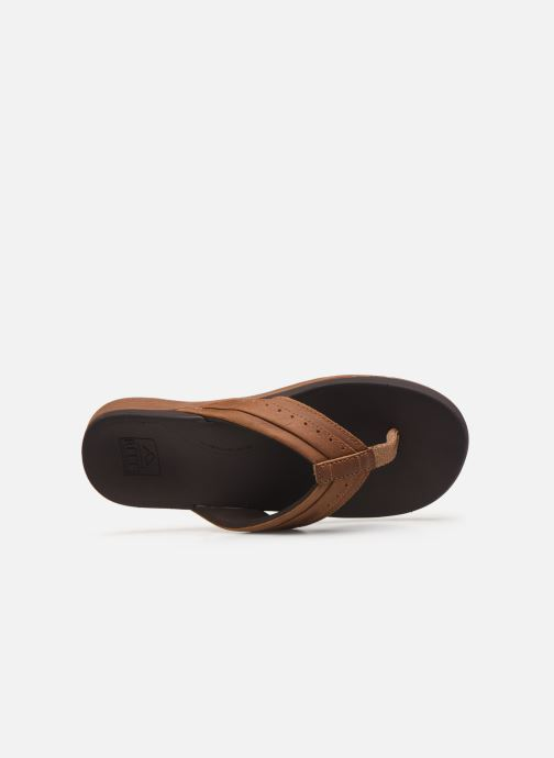 Tongs Reef Leather Ortho-Spring Marron vue gauche