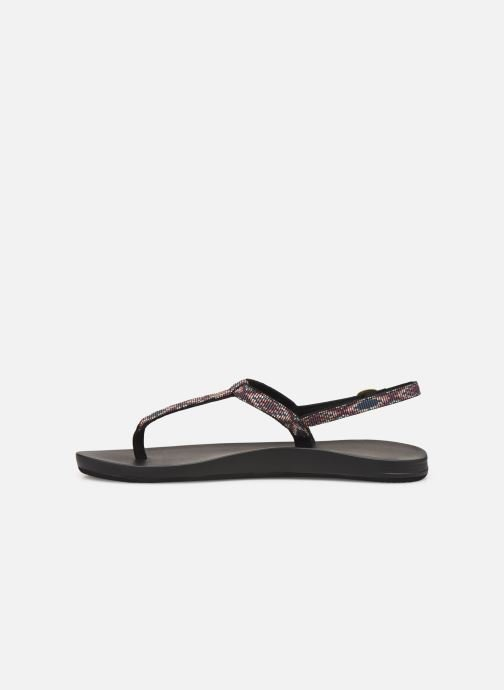 Sandalias Reef Cushion Bounce Slim T Negro vista de frente