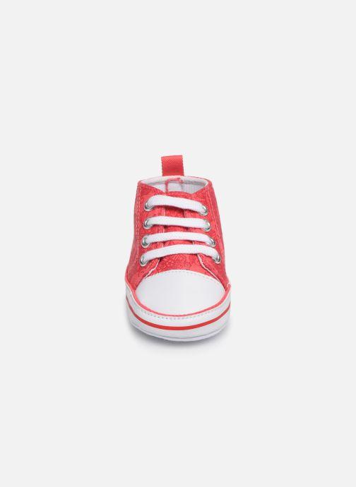 Baskets I Love Shoes Basket lacets fleur Rouge vue portées chaussures