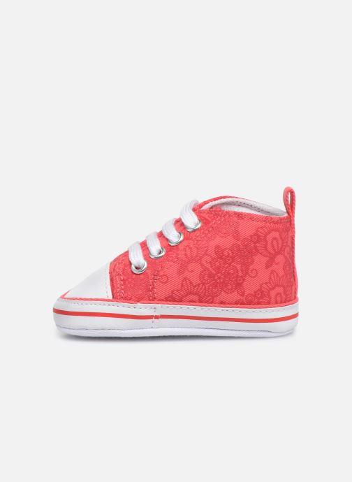Baskets I Love Shoes Basket lacets fleur Rouge vue face
