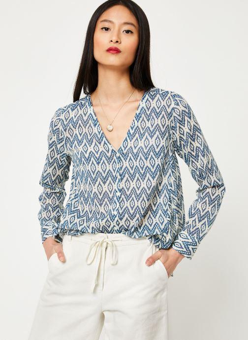 Vêtements Stella Forest CHEMISE EVASEE ML IMP IKAT Bleu vue droite