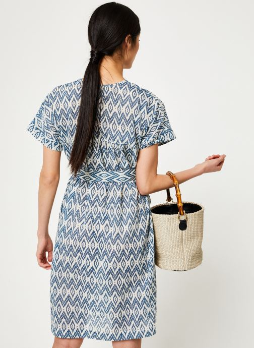 Vêtements Stella Forest ROBE CEINTURE UNI IMP IKAT Bleu vue portées chaussures