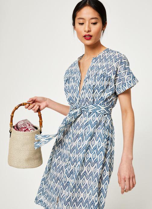 Vêtements Stella Forest ROBE CEINTURE UNI IMP IKAT Bleu vue détail/paire
