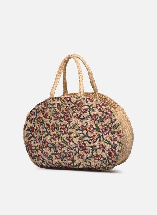 Handtaschen Stella Forest SAC PANIER IMPRIME FLEURS JEAN beige schuhe getragen