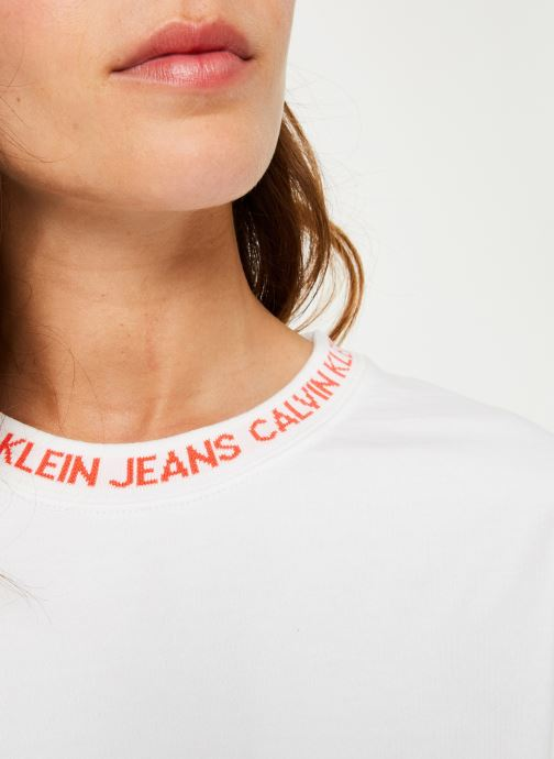 Kleding Calvin Klein Jeans LOGO TAPE CROPPED CREW NECK Wit voorkant
