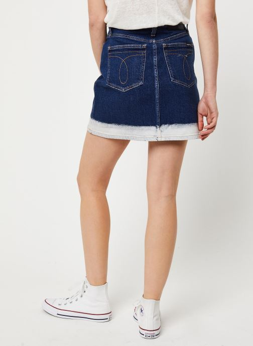 Vêtements Calvin Klein Jeans HIGH RISE MINI SKIRT Bleu vue portées chaussures