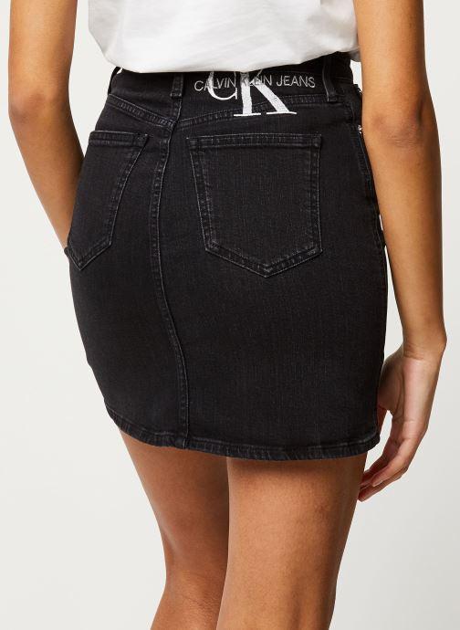 Vêtements Calvin Klein Jeans HIGH RISE MINI SKIRT Noir vue portées chaussures