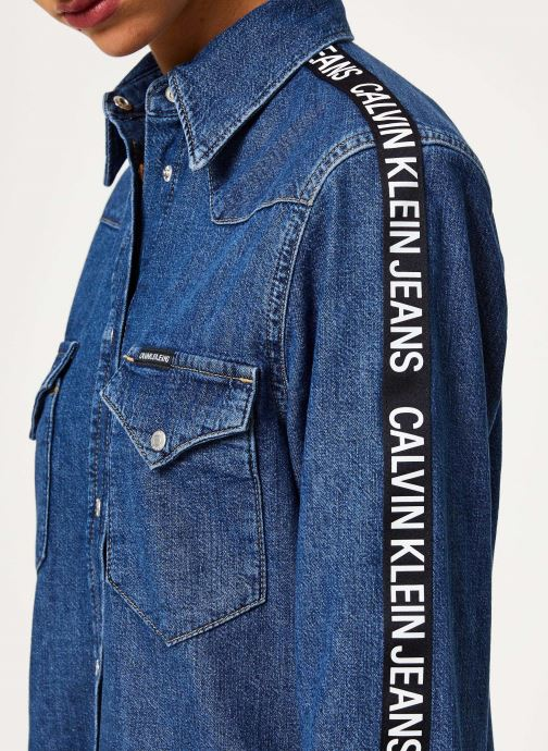 Vêtements Calvin Klein Jeans FOUNDATION WESTERN DRESS Bleu vue face