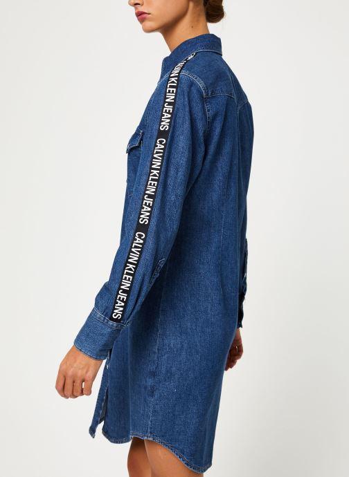 Vêtements Calvin Klein Jeans FOUNDATION WESTERN DRESS Bleu vue droite