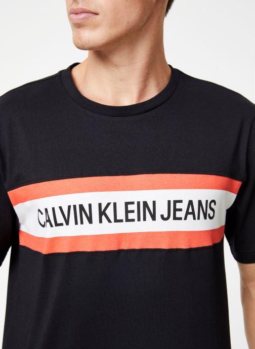 Vêtements Calvin Klein Jeans CHEST STRIPE INSTIT SLIM SS Noir vue face