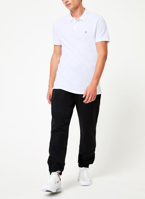 Vêtements Calvin Klein Jeans BADGE PIMA COTTON POLO Blanc vue bas / vue portée sac