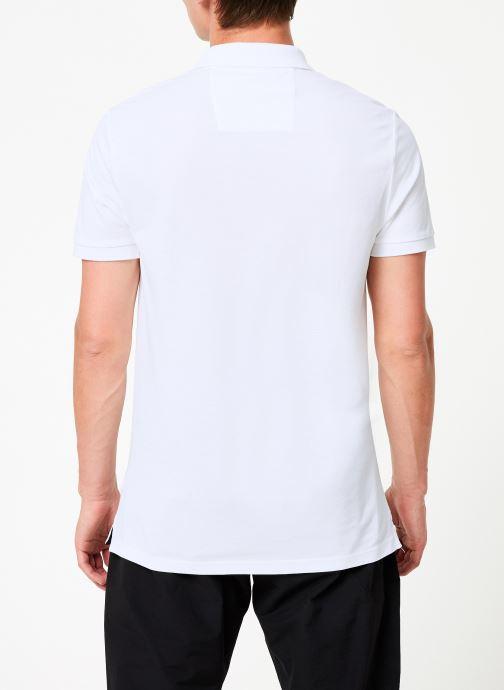 Vêtements Calvin Klein Jeans BADGE PIMA COTTON POLO Blanc vue portées chaussures
