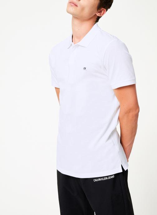 Vêtements Calvin Klein Jeans BADGE PIMA COTTON POLO Blanc vue droite