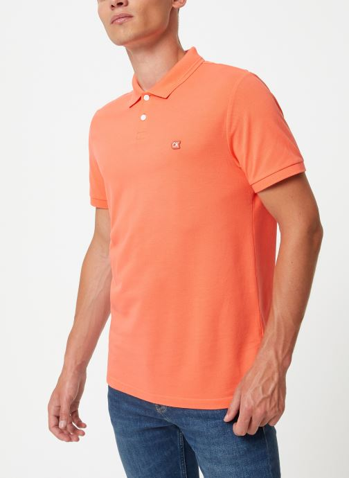 Kleding Calvin Klein Jeans BADGE PIMA COTTON POLO Oranje rechts