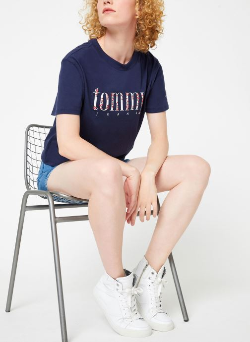 Kleding Tommy Jeans TJW FLORAL EMBROIDERY TEE Blauw onder