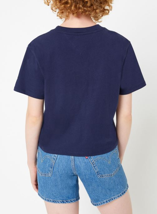 Kleding Tommy Jeans TJW FLORAL EMBROIDERY TEE Blauw model