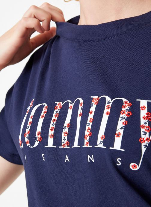 Kleding Tommy Jeans TJW FLORAL EMBROIDERY TEE Blauw voorkant