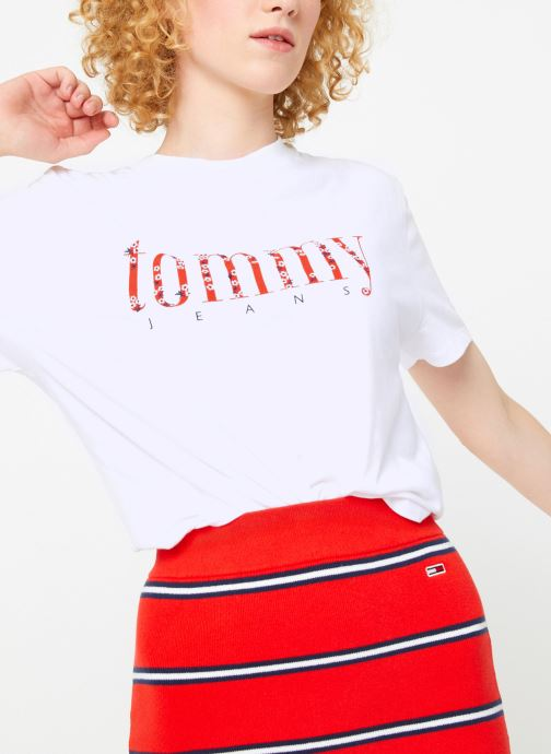 Vêtements Tommy Jeans TJW FLORAL EMBROIDERY TEE Blanc vue détail/paire